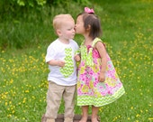Matching Dress and Boy's Shirt. Sophie's Garden Green Chevron