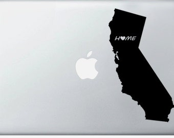 California Home is where the heart is- laptop DECAL- macbook iPad computer- Gadget Art / Accessory