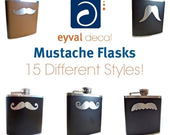 Mustache Vinyl Flasks- 15 styles - 25 Colors - 2 Sizes - wedding, liquor, whiskey, wedding, bridal party, Personalized Custom