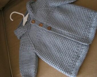 Blue Crochet Baby Boy Sweater with Hood - MADE TO ORDER - Tunisian Crochet - Handmade