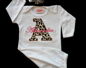 Monogram Layette Gown Personalized Baby Girl Clothes Cheetah Layette Gown and Beanie Hat Take Home Outfit   Baby Girl Gift  Set