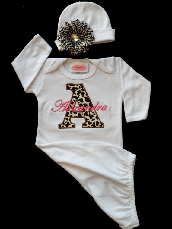 Monogram Layette Gown Personalized Baby Girl Clothes Cheetah