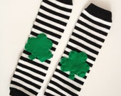 Shamrock Baby Leg Warmers St Patrick's Day: black and white stripes newborn, baby, children