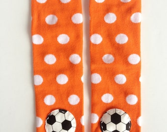 Soccer Baby Leg Warmers Orange White Polka Dot Baby Leg Warmers