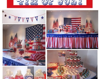SALE Sale  DIY 4th fourth of july  PRINTABLE Party Package banner cupcake toppers labels paper
