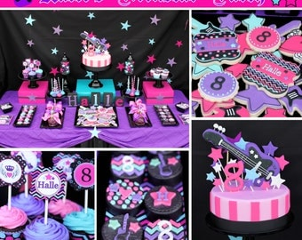Rockstar Girl Birthday Party Decorations PRINTABLE Deluxe Party Package black pink teal purple guitar rocker DIY rocker