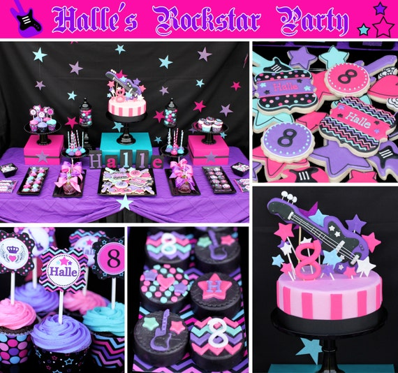 Rockstar Girl Birthday Party  PRINTABLE Deluxe Party Package black pink teal purple guitar DIY Party Decorations -Cupcake Express