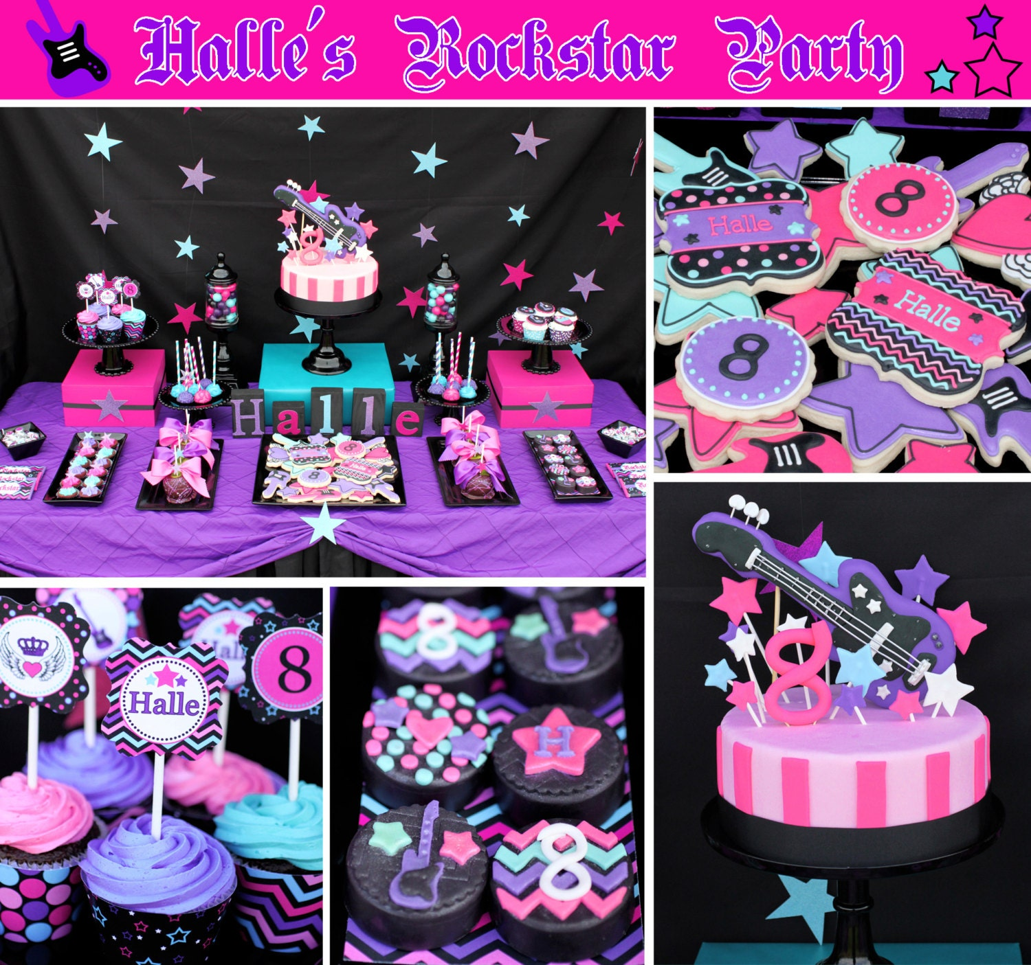 Rockstar Girl Birthday Party Decorations Printable Deluxe