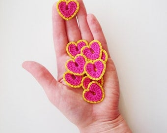 Crochet Heart Appliques, Pinky Pink & Dirty Yellow, Set of 10, Valentines Day Heart Love Motif