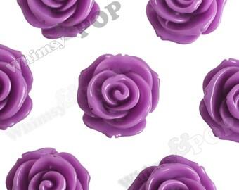 23mm - Large Lilac Lavender Purple Rose Cabochons, Flower Cabochons, Rose Shaped, Chunky Rose Flatbacks, 23mm Rose Cabochons (R5-008)