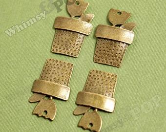 3 - Antique Bronze Flower Pot Charm Pendants , 32mm x 20mm (2-4J)