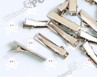 50 - Silver Prong Barrettes Hair Alligator Clips, Hair Accessory Blanks, Hair Clips, 35mm (R5-200,C2-07)