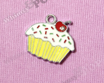 1 - Yellow Cupcake Enamel and Crystal Kawaii Foodie Charm, Cupcake Charm, 18mm x 20mm (2-3F)