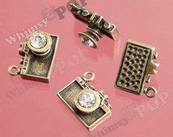 4 - Antique Bronze Rhinestone Camera Pendant Charms, Camera Charms, 14mm x 17mm (3-3I)