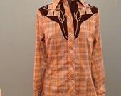 ladies vintage plaid country western shirt