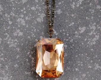 Champagne Diamond Pendant Necklace Swarovski Crystal Necklace Duchess Rectangle Large Crystal Necklace Mashugana
