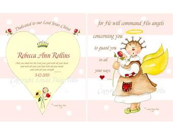 Baby Dedication Gift Art Set - Linda Paige Tolis- Baby Dedication Gift  -Personalized Christian Scripture Art