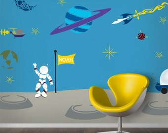 Outer Space Wall Mural Stencil Kit for Baby or Boys Room (stl1006)