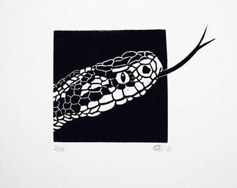 Linocut animals, snake, slang, Chinese New Year, Year of the Snake, hand printed wall art