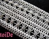 Vintage Wide Ivory Cotton Crochet Gimp Trim - 2 yards
