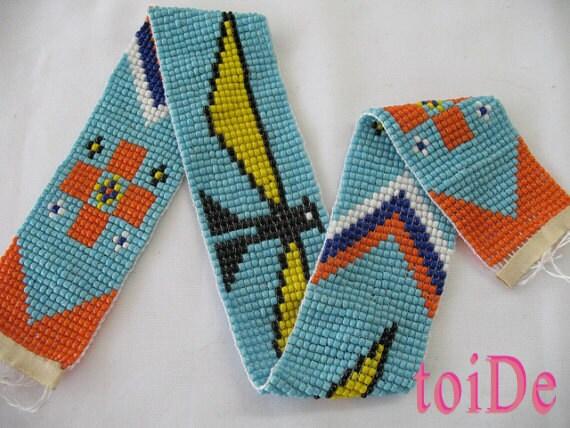 Wide Native American Beadwork Hat Band Eagle motif