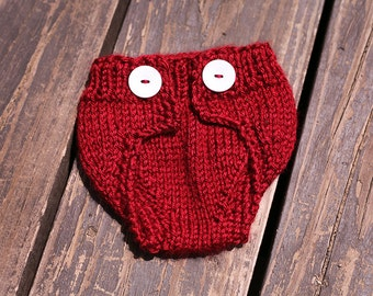 Ruby Red Newborn Diaper Cover - Hand Knit - Baby Shower Gift Idea
