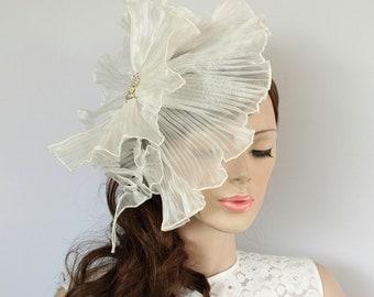 White Organza Bridal Headpice IV: Ruffled Weddings Hat Fascinator, Rhinestone Accented.  Handmade