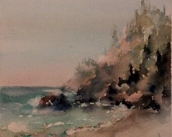 "seascape, beach, cliffs, forest, landscape, sand, ocean, waves. Northern California. Shoreline. original watercolor painting (6"" x 6"")"