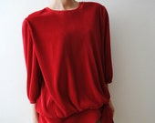 Vintage 70s Pleated Blouse Red Wine M