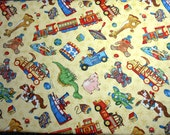 Reserved for Shannon 1.25 Yds Tossed Toys on Yellow Fabric