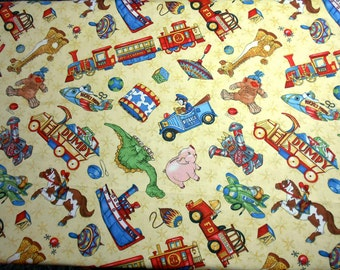 1 Yard, Tossed Toys on Yellow Fabric
