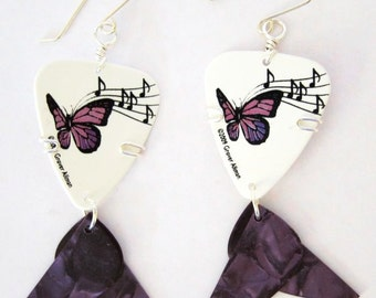 Purple Guitar Pick Earrings