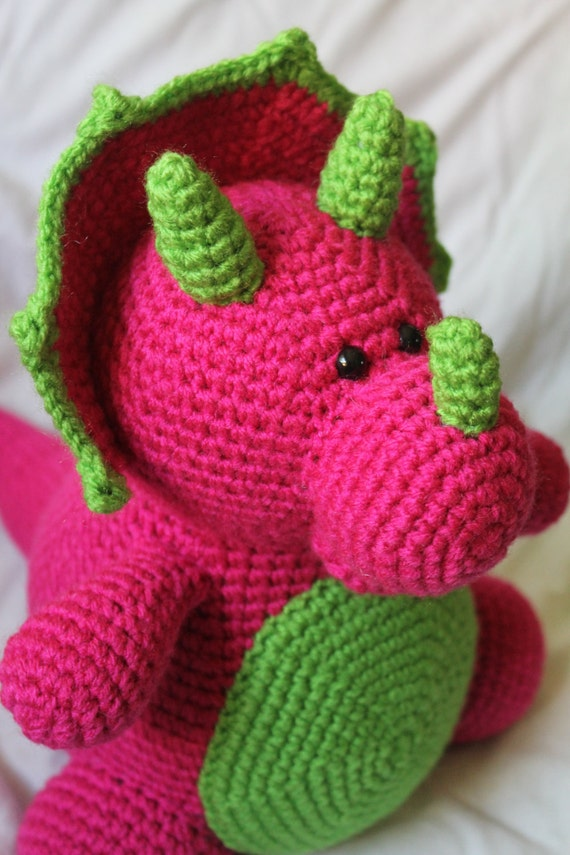 Tina the Triceratops Amigurumi Plush Crochet PATTERN ONLY