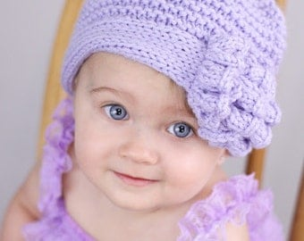 PDF Knitting Pattern: Ruffles and Ridges Flapper Hat Newborn Baby to Adult sizes Pattern k007