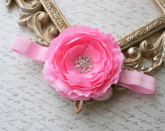 Baby Flower Headband..Baby Girl Headband..Newborn Headband..Pink Flower Headband..Newborn/Baby/Toddler/Girl/Baby Headband..Light Pink