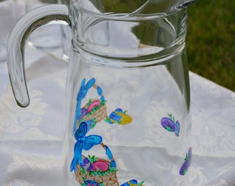 Easter Basket Water Pitcher - Handpainted