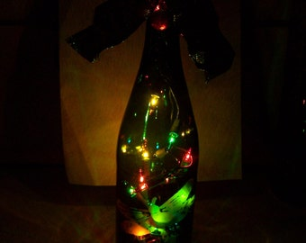 PRICE REDUCED! etched glass dragonfly recycled lighted bottle with frog on the cork