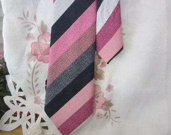 Men's Necktie - Striped in Violet, Rose, Black, Grey, Tan, Lilac and White