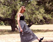 Vintage Black and White Geometric Wrap Skirt