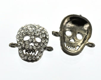 2 Pave' Rhinestone Gunmetal SMILING SKULL Connector Charms cho0057