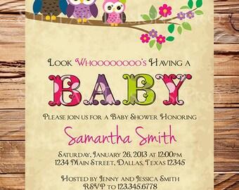Owl Family Baby Shower Invitation, Baby Shower Invite, Boy, Girl, Gender Neutral, Whimsical, Blue, Pink, Green Baby shower, 1460