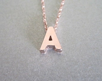 Petite Rose Gold Initial Charm Necklace - Initial Necklace - Monogram Jewelry - Personalized Jewelry