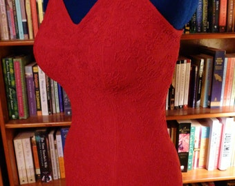 CATALINA BOMBSHELL--Gorgeous Lipstick Red Knitted 1930s 1940s Bathing Suit--M,L