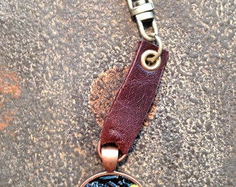 Keychain, Leather and Metal,Steampunk Rocker Style