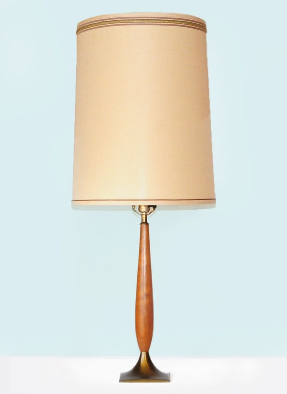danish modern lamp 41 tall drum shade vintage shade wood brass. Black Bedroom Furniture Sets. Home Design Ideas