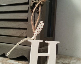 Hanging Wooden Letter Tag - Hand Painted - Letter H - various colours available
