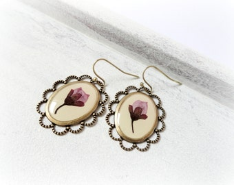 Cherry flower resin earrings- Real pressed preserved plant leaves flower cream pink beige mauve Botanical specimen Wereable art fall jewelry