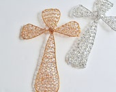 Gold or Silver Cross Knitted Wire Ornament or Wall Decoration