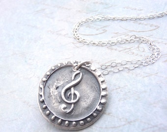 Treble clef music note wax seal necklace hand stamped from vintage wax seal in fine silver