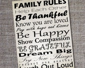 Family Rules Inspirational Words Print in Digital Format DIY Black and White